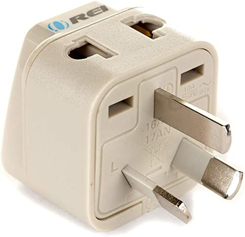 OREI Grounded Universal 2 in 1 Plug Adapter Type I for Australia, China, New Zealand and More - High Quality - CE Cer...