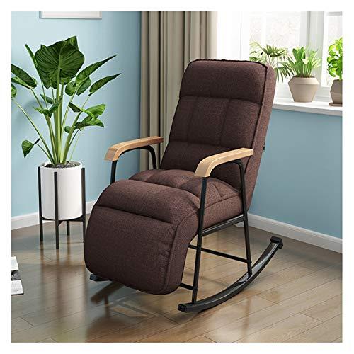 LYQZ Silla Mecedora de Tela Moderno Europeo Balcón Sillón de salón Muebles Lazy Sofa Recliner Habitación Sillón de salón, Multi-Color Opcional (Color : Brown)