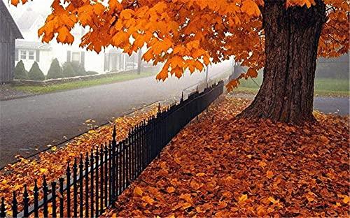 Diamante Pintura 5D diy por número Kit, Hojas caídas del árbol de otoño 100x150cm diamante arte completo taladro de bordado punto de cruz cuadros arte arte arte decoración de la pared del hogar