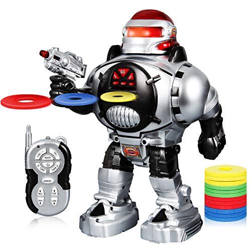 SGILE Robot Giocattolo, Spara Dischi, Balla, Parla, Robot Telecomandato RC Super Divertente, Regalo di Natale per Bambini