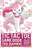 Tic Tac Toe Game Book 750 Puzzles: Cute Unicorn Rainbows Pink Flowers With Instructions and Scorecard Travel Size