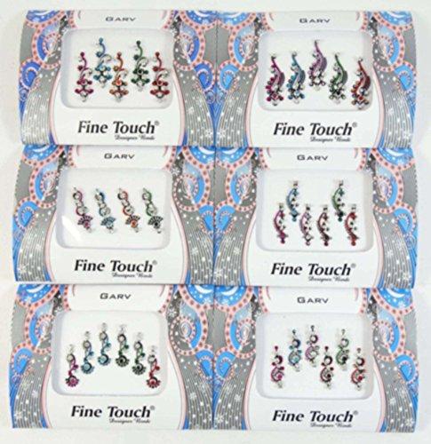 Banithani 6 pezzi bindi pacchetto completo contro assortiti tatuaggio indiano regalo personalizzato per le donne, colore: multicolore, cod. EBIN45