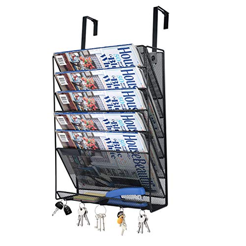 Hanging Wall File Holder Organizer, 6 Tier Metal Mesh Wall Mount Paper Letter Document Magazine Rack with Flat Tray, 5 Hooks,Black