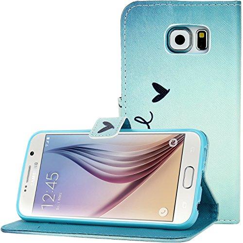 Samsung Galaxy S6 Hülle, Bingsale Schutzhülle Tasche im Bookstyle mit Standfunktion Kartenfächer für Samsung Galaxy S6 (liebe Wort)