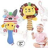 WolinTek 2 Piezas Juguete de Sonajero Muñeca de Peluche,Sonajeros Suave para bebé,Peluches Suaves de Bebe Sentido Animales Felpa Juguete para 3 6 9 12 Meses Infantil (león,Jirafa)
