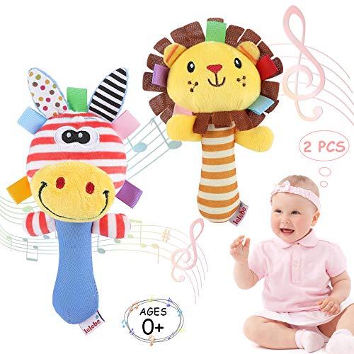 WolinTek 2 Pcs Baby Rasseln,Greifling zum Rasseln,Cartoon Tier Rassel Kleinkind Spielzeug weiche Flock Stoff mit Klingel Glocke. rassel für Babys und Kleinkinder ab ab 3 -12 Monaten