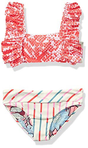 Maaji Girls' Ruffle Trim with Tie Back Bikini Swimsuit Set, Heartbreak Gail Red Python, 6