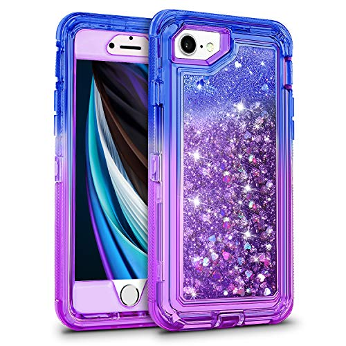 WESADN for iPhone SE 2020 Case, iPhone 7/8 Case for Girls Women Cute Glitter Protective Luxury Bling Sparkle Heavy Duty Protection Shockproof Gradient Cover for iPhone SE2 7 8 6 6s,Blue Purple