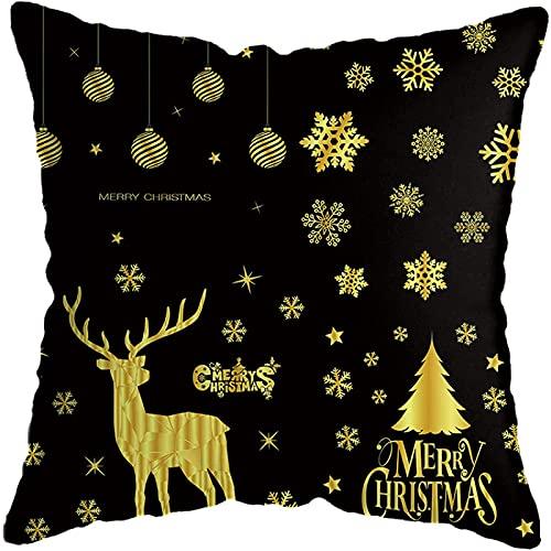 Juego de fundas de almohada, juego de 3 x 45,7 cm, juego de almohada de Navidad, diseño de alces de árbol de Navidad, color blanco y negro