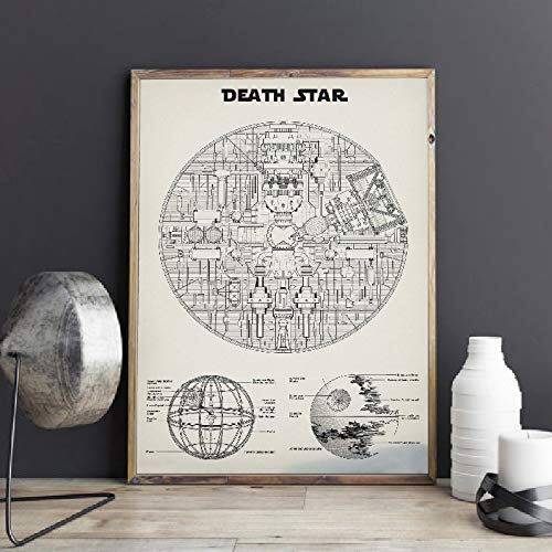 Hollywood Sci-fi Movie Star Ultimate Weapon Spaceship Wars Death Star Schematic Diagram Wall Art Poster Canvas Painting Living Room Bedroom Home Decor