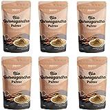 Polvo orgánico de Ashwagandha de Monte Nativo - 6x700g - Polvo de Raíz Molida - Ginseng Indio - Cereza de Invierno - Withania Somnífera - Certificado Orgánico - Probado en Laboratorio