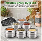 Magnetic Spice Tins Stainless Steel Spice Jars Clear Top, Multi-Purpose Storage Spice Container with Spice Labels, 6 Spice Tins with Clear Lid Sift And Pour Home Kitchen…