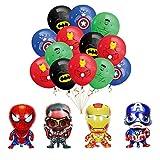 smileh Decoracion Cumpleaños Superhéroes Globos 16PCS Vengadores Cumpleaños Globos de Papel para Niños Decoraciones de Fiesta Marvel Cumpleaños