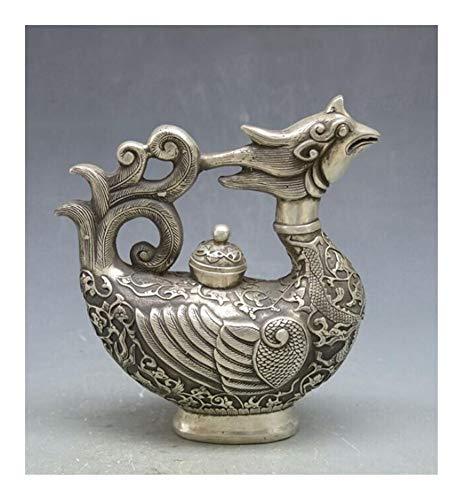 GuoQiang Zhou Tetera de Plata Estilo Chino Vintage Tíbet Plata Phoenix Pájaro Pájaro Té Pot Flagon Claret Jarra Estatua Decoración del hogar
