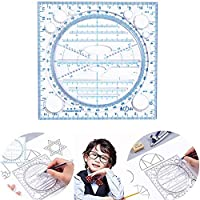 Kaleidoscope Geometric Functions Fast Drawing Measuring Ruler, Multifunctional Fast Drawing Ruler, Round Rotatable Compass Drawing Ruler, Multipurpose Draw Round Curve Horizontal Parallel Line (Black)