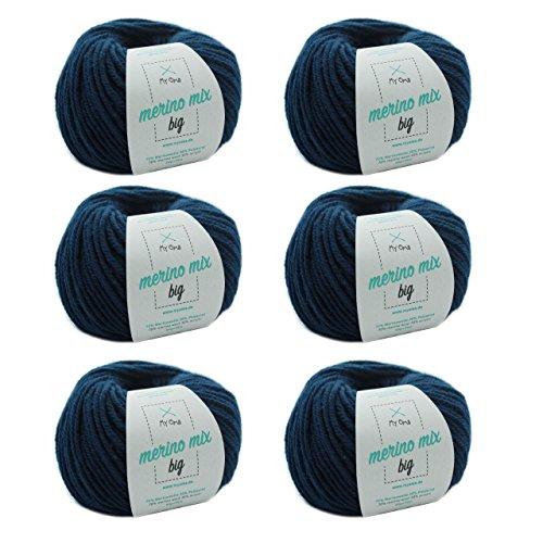 MyOma Strickgarn Merinowolle - Merinogarn Jeans (Fb 3850) - 6 Knäuel blaues Merinogarn – Dicke Wolle – Nadelstärke 6-7mm – Lauflänge 50g/75m – weiche Wolle – Wolle zum Stricken – Merinowolle