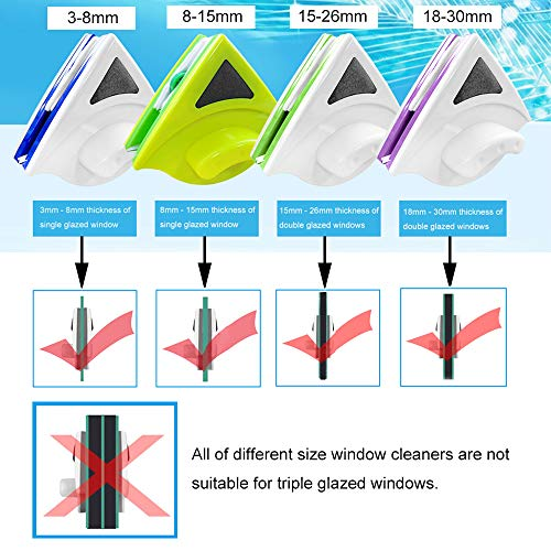 Baffect Window Cleaning Tools, Magnetic Glass Cleaner Squeegee 3-8mm
