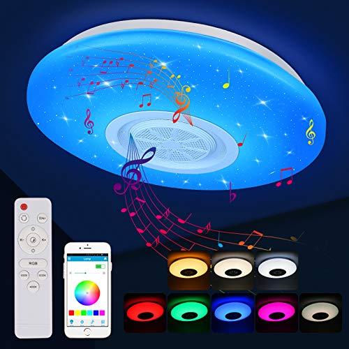 Zorara 36W Musical Lámpara De Techo Led Regulable, con Altavoz Bluetooth, Mando a Distancia o Control APP, 3000-6500K Plafón LED Ø36cm Para Habitaciones, Dormitorios, Salones [Energética Clase A++]