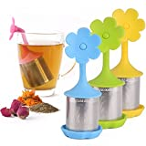 House Again 4-pack Extra Fine Mesh Tea Infuser with Drip Tray - 18/8 Stainless Steel Fine Mesh Tea Cup with...