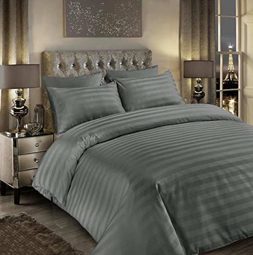 Luxury 400tc Satin Stripe Duvet Cover Set Original 400 Thread Count 100% Egyptian Cotton Hotel Quality Bedding Bed Sets Double King Super King Size Quilt Covers (Stripe Grey, Super King)