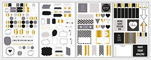 Rayher 60906000 Sticker Symbole Set, Glam, Btl. 4 Blatt, Abziehbilder, Icons, Wörter in den Farben gold, grau, schwarz, weiß