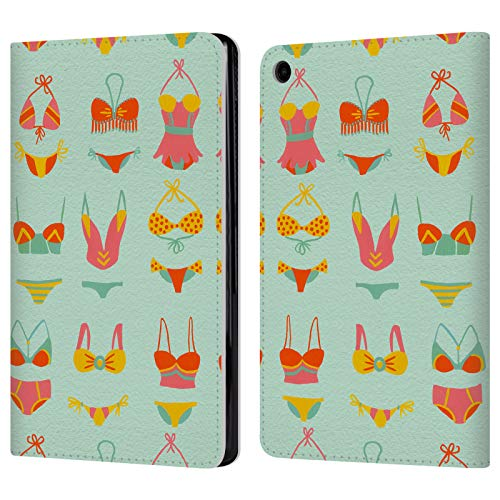 Official Cat Coquillette Bikini Mint Summer Leather Book Wallet Case Cover Compatible For Amazon Fire HD 8 2017/2018
