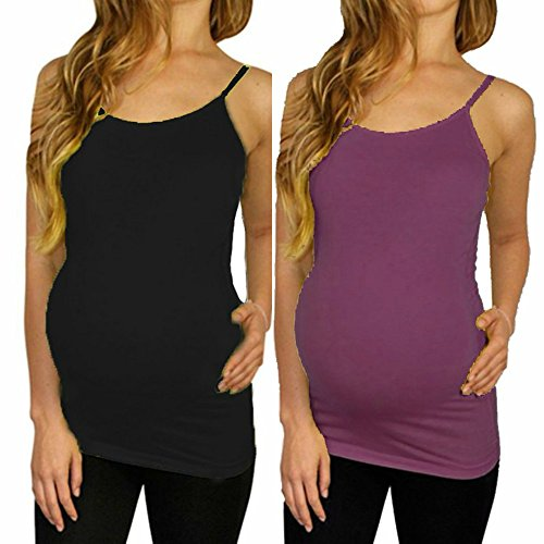 Maternity Tank Top Camisole Cami Shirt Clothes Seamless Super Stretch Soft Material (2 Pack Black and Purple, Maternity (One Size Fits All))