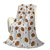 Erizo Manta de Microfibra de poliéster de Felpa Love of Nature Theme Nueces Hojas Setas y juguetón Animal del Bosque para niños Manta antiestática Liviana de Alta Gama W60 x L50 Inch Mu