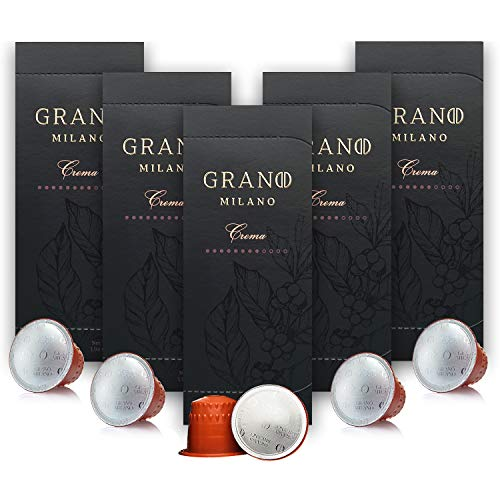 Grano Milano Coffee Capsules | Crema | Nespresso* Compatible Pods | 100% Pure Roasted Ground Coffee | Intensity 8 | Citrus, Deep Roasted Flavours & Heavy Body | 50 Pods