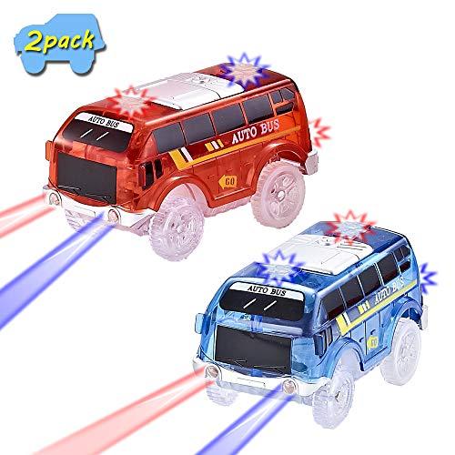 codomoxo Autobús Escolar, 2019 Circuitos de Autos nuevos Especiales con 5 Luces LED, Accesorio Magic Track (Autobús de 2 Coches)