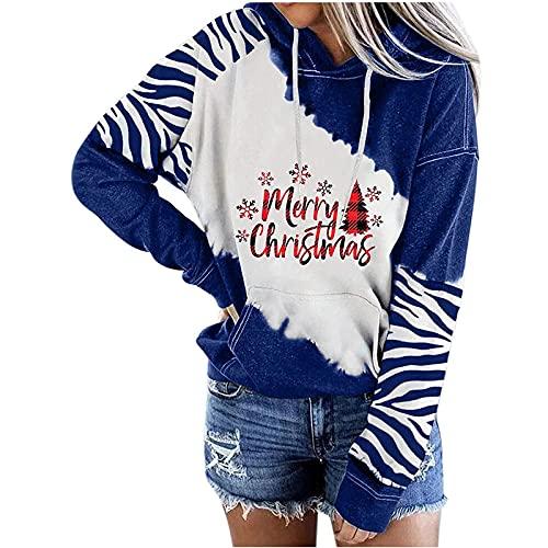 Suéter suelto de punto de manga larga con cordón con capucha color block cebra patrón letra impresa suéter, azul, XXL