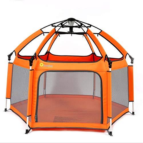 Laufstall Baby Laufgitter,Exqline Tragbarer Baby-Sicherheitslaufstall mit 6 Paneelen, Baby Playpen Drinnen und Draußen (Orange)