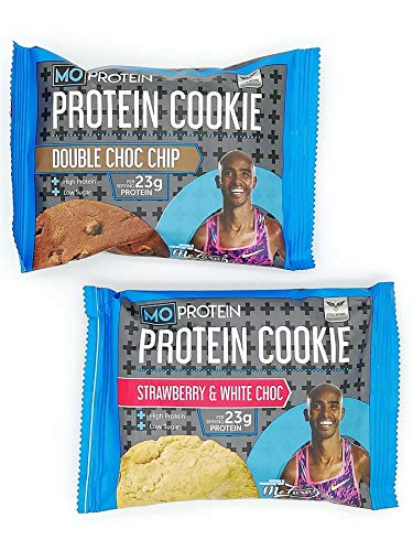 Mo Farah KIT 1 x Protein Cookie Double Chocolate 75g and 1 x Protein Cookie Strawberry and White Chocolate 75g – Packed with High-Quality Protein for Your Weight Management