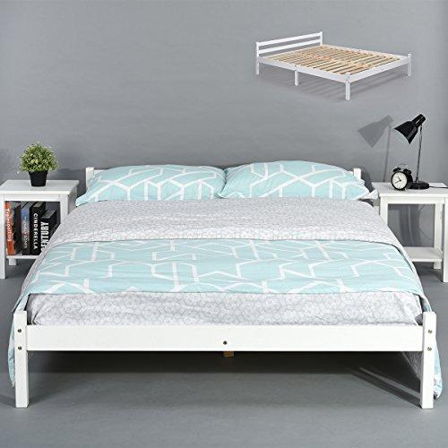 Cadre de lit double 140 cm en bois massif durable à lattes robustes design moderne meubles de chambre Blanc