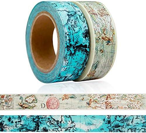 Crafty Giraffe Co. Calendar Washi Tape Set - 4 Sizes 35mm 15mm 10mm 5mm, Decorative Patterned Masking Tape for Arts Crafts Bullet Journal & Planner (Set of 8)