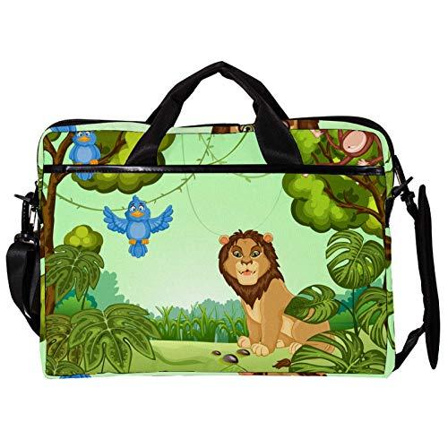 Mochila unisex para ordenador o tableta, ligera para portátil, bolsa de viaje de lona, 33.4-34.5 pulgadas con hebillas, lindo y divertido bosque monos hojas verdes