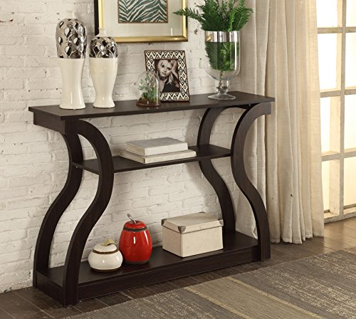 Cappuccino Finish Hall Console Sofa Entryway Accent Table Modern Design 47.5