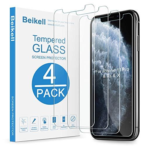 Beikell [4 Stück] Schutzfolie für iphone 11 Pro/iPhone XS/iPhone X, HD Displayschutzfolie mit 9H Härte, Anti-Kratzen, Anti-Bläschen, Hüllefreundllich kompatibel mit iPhone 11 Pro/X/XS