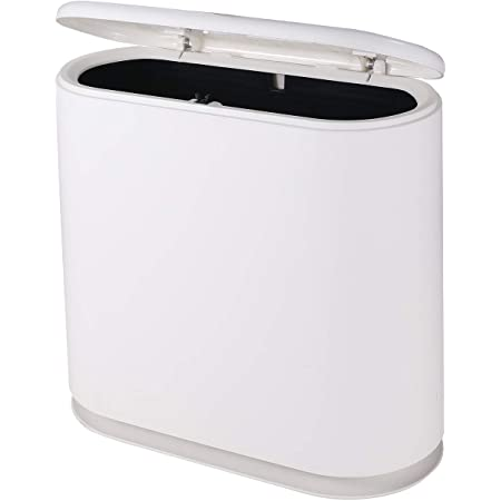 PENGKE Slim Plastic Trash Can,2.4 Gallon Garbage Can with Press Top Lid,Black Modern Waste Basket for Bathroom,Living Room,Office and Kitchen