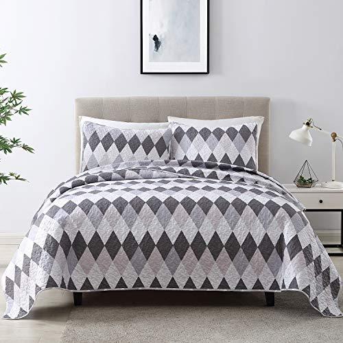 EXQ Home Bettwäsche-Set, King-Size-Druck, 3-teilig, leichte Mikrofaser, moderner Stil, Diamant-Muster, Tagesdecken-Set.