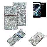 K-S-Trade® Handy Schutz Hülle Für Archos Sense 55 S Schutzhülle Handyhülle Filztasche Pouch Tasche Hülle Sleeve Filzhülle Hellgrau Roter Rand