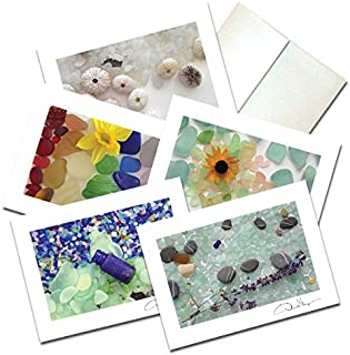 Elegant Sea Glass Fine Art Note Cards. 3.5x5 Set of 10 Blank Folded Cards Matching Envelopes. Unique Birthday Cards. Great Thank You Notes & Invitations. Best Quality Christmas & Valentine's Day Gifts