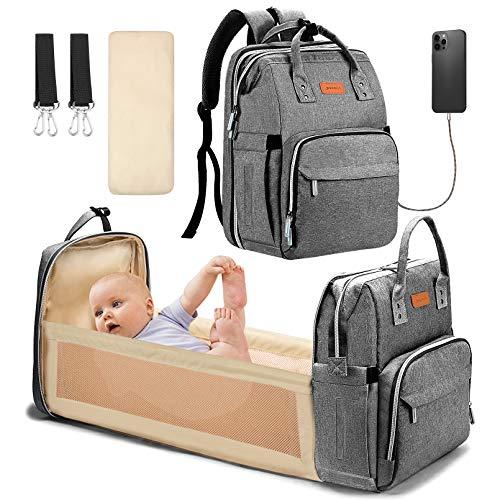 YOOFOSS Sacs à dos à langer pour bébé, sac à dos de voyage multifonction avec coussin à langer et sangles de poussette, grande capacité, imperméable et élégant - Gris
