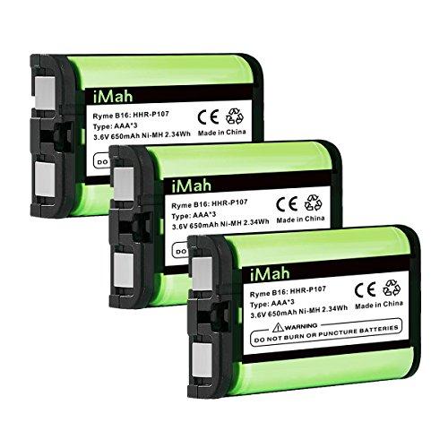 3-Pack iMah HHR-P107 Phone Battery Compatible with Panasonic HHR-P107A/1B KX-TG6071 KX-TG6074 KX-TGA351 KX-TGA600 Handset Cordless Telephone (Type 35)