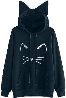 LEXUPA Womens Cat Long Sleeve Hoodie Sweatshirt Hooded Pullover Tops Blouse