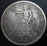 YWJHY Dólar de Plata Americano Antiguo 1875 Diosa águila de Plata sin núcleo de Cobre,Plata,Un tamaño