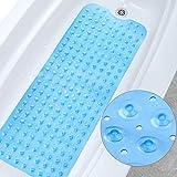 DYD Badewannenmatte Hautsensitiv 100x40cm | Antirutschmatte Badewanne | Badewanneneinlage | Duschmatte rutschfest für Kinder & Baby | BPA Frei Sicher PVC(blau)