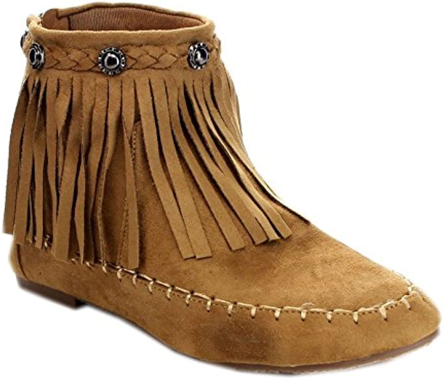Bolaro Bc5040 Women's Comfort Fringe Layer Back Zipper Flat Ankle Booties