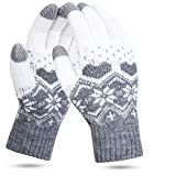 Women Gloves Touch Screen - 1/2 Pairs Touch Winter Knitted Gloves Snow Flower Printing Keep Warm Unisex Phone Texting Mittens Warm Touchscreen Mittens (Grey-A)