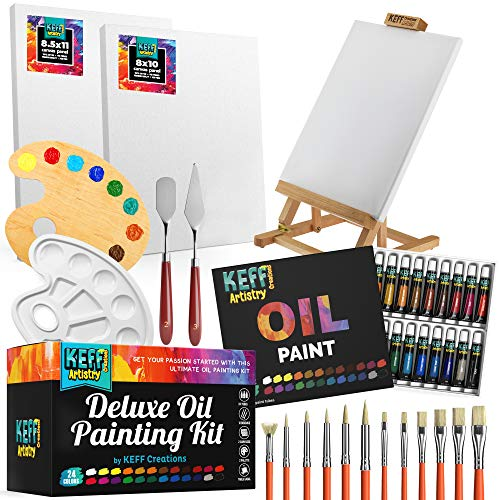 Keff Creations Oil Paint Set| Paint Set Includes Many Art Supplies- Table Easel, Stretched Canvas, Paint Brushes, Paint Pallet. Great Oil Kit for Starters or Professionals